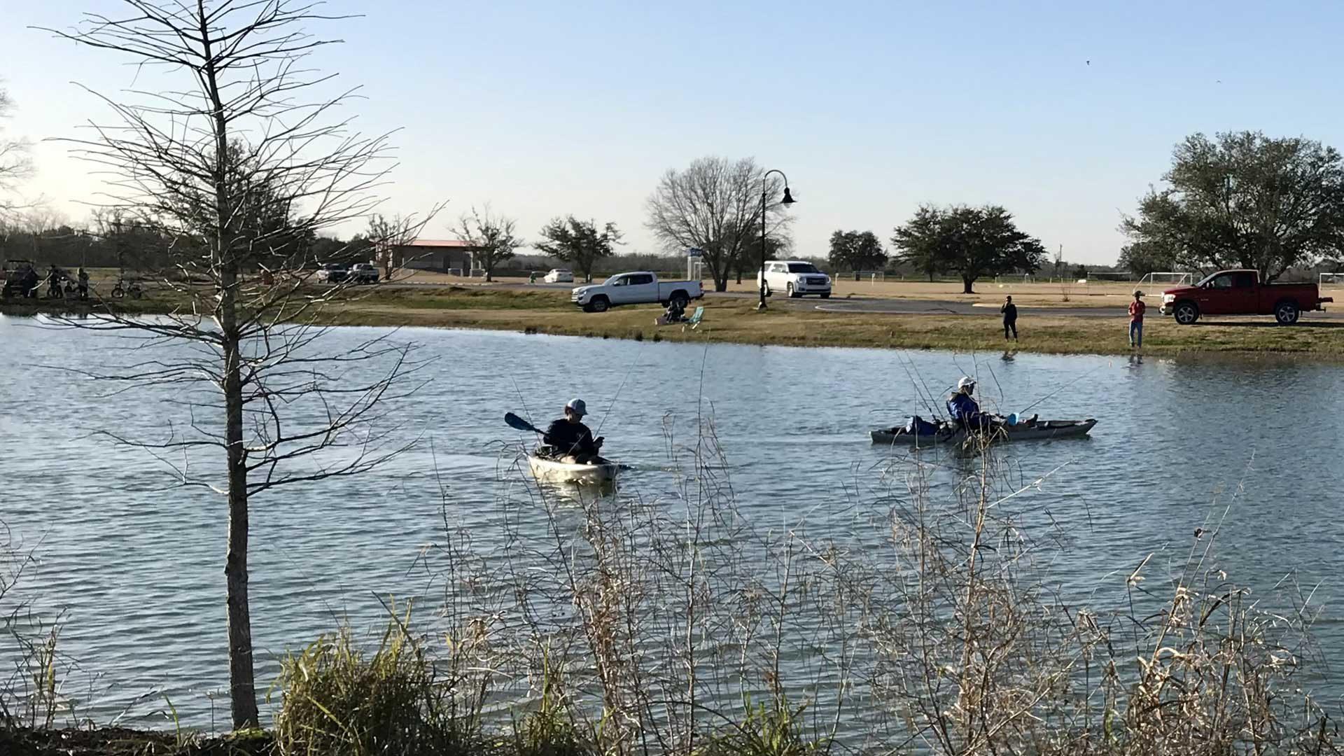 Photo of kayaks on BCSP pond.