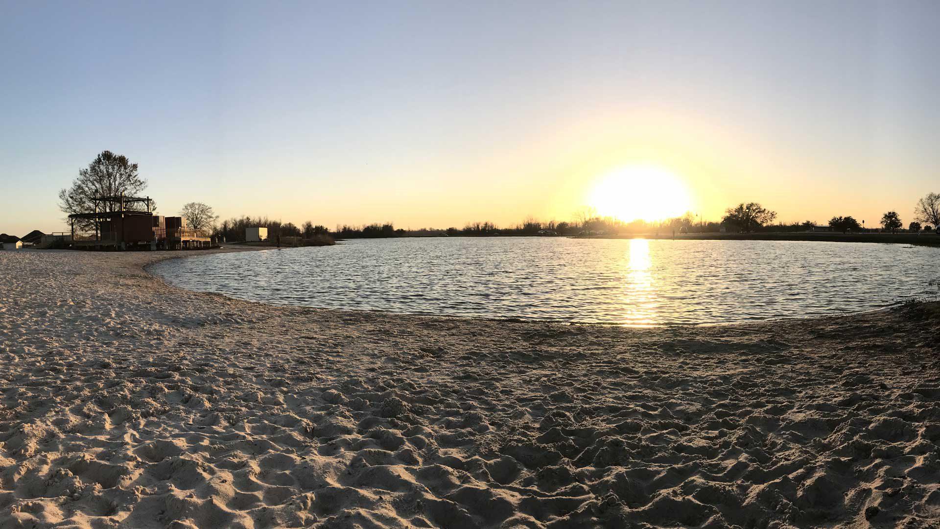 Photo of BCSP beach at sunset.