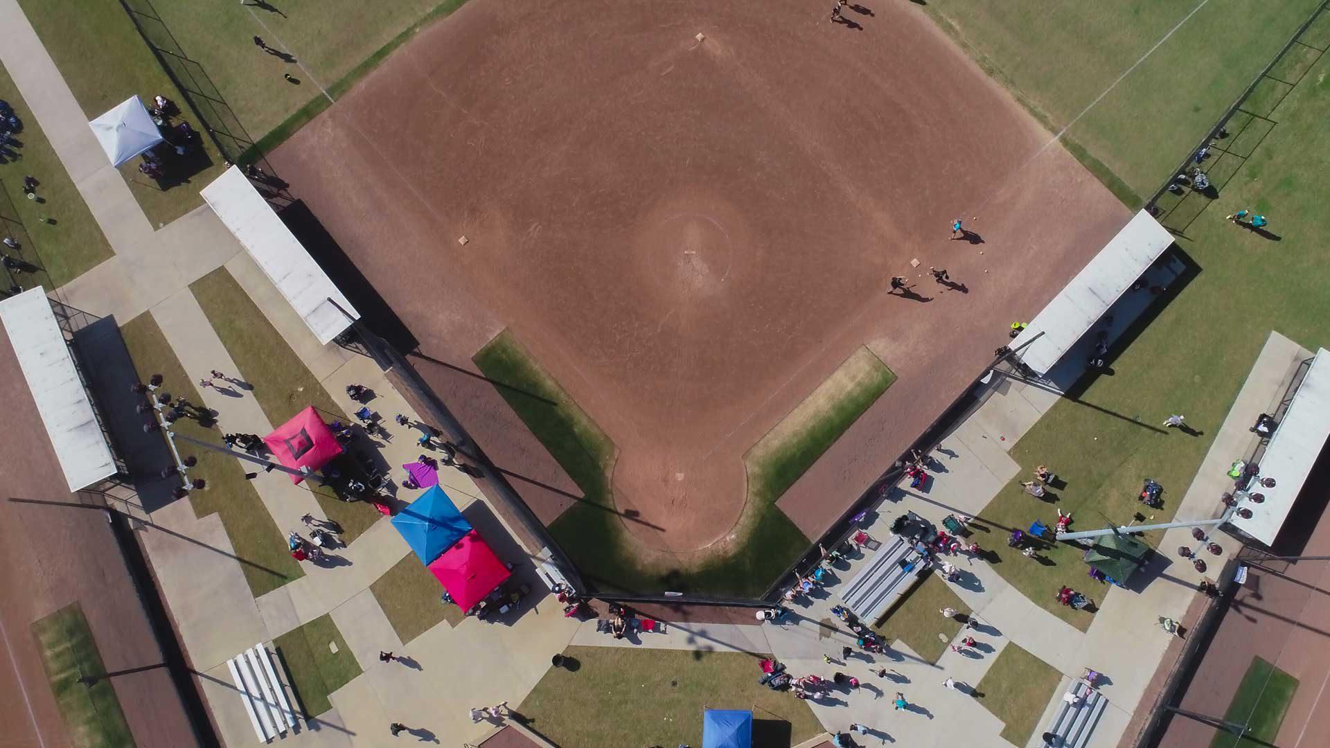Drone photo of softball field.