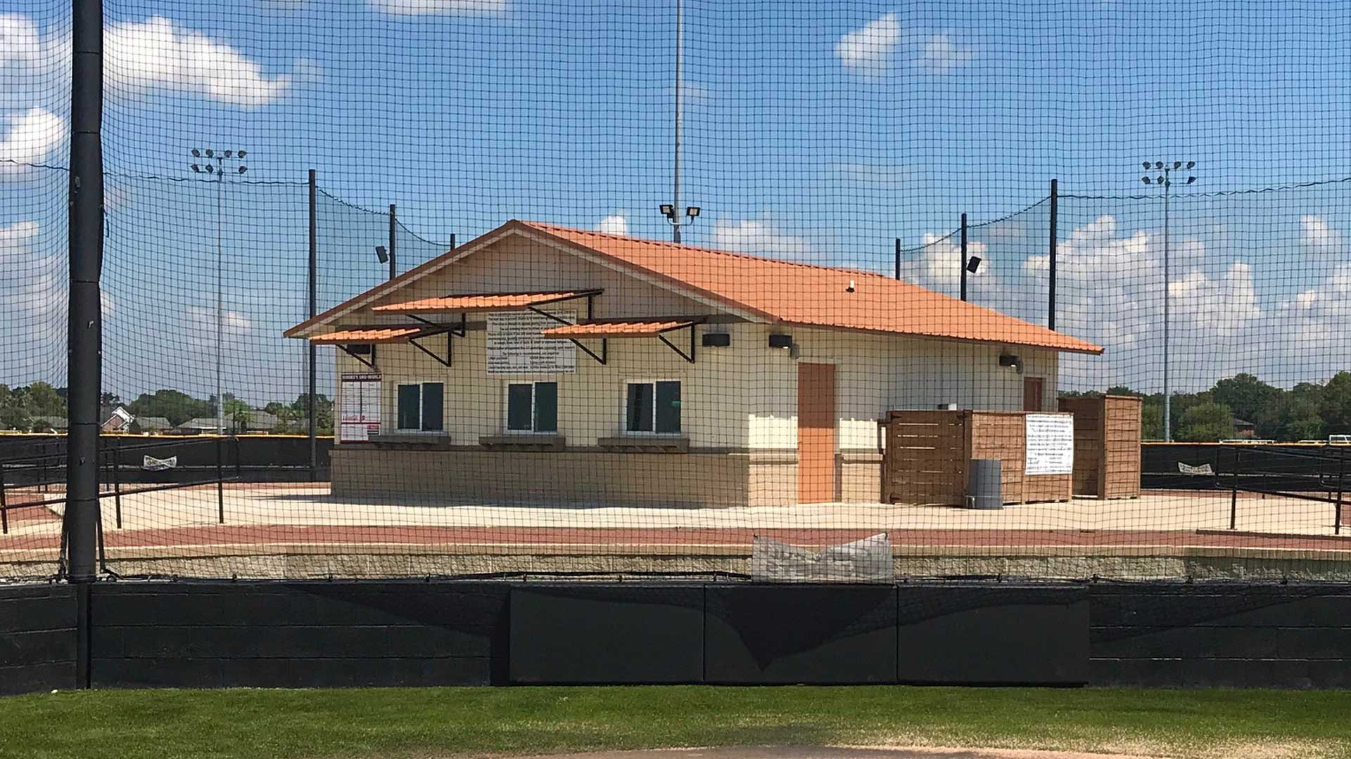 Photo of concessions stand and restrooms at the softball complex.