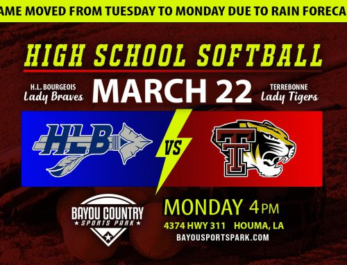 Terrebonne vs. H.L. Bourgeois High School Softball moved to March 22.